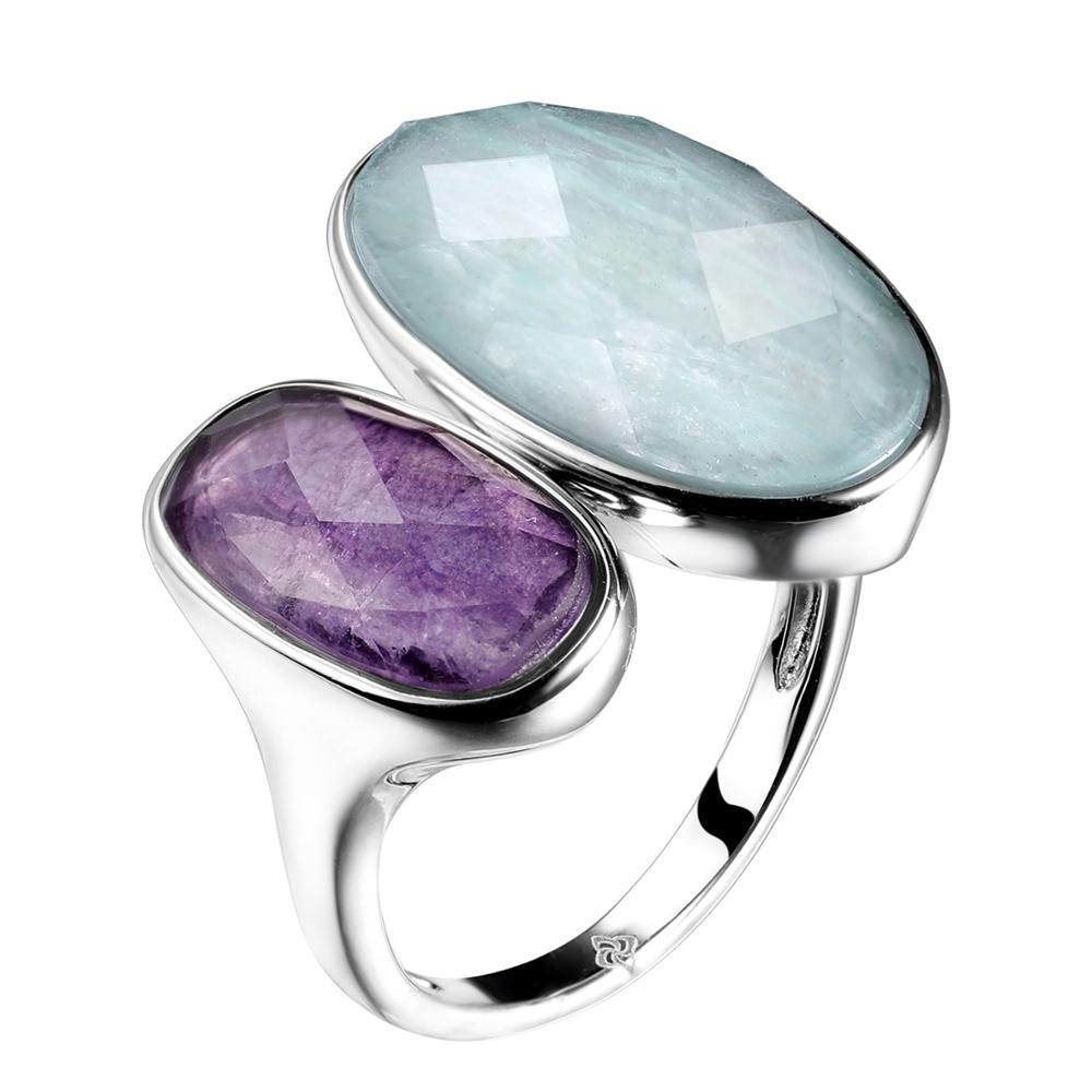 DORMITH  real 925 sterling silver gemstone rings  natural amazonite fluorite stone rings for women jewelry rejustable size ring