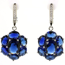 SheCrown Deluxe Top AAA Tanzanite Natural CZ Gift For Sister Silver Earrings 38x17mm