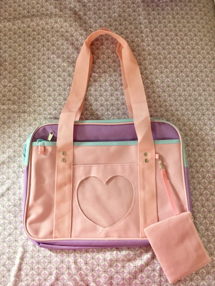 Preppy Style Pink Travel Shoulder School Bags For Women Girls Canvas Large Capacity Casual Luggage Organizer Handbags Totes photo review