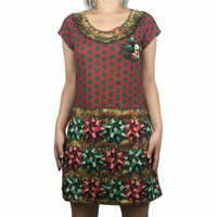 Vintage Ugly Christmas Dresses For Women Cute Girls Sexy V Neck Xmas Holiday Party Dress Red