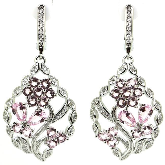Deluxe Flower Shape Pink Kunzite White CZ Woman's 925 Silver Earrings 48x26mm