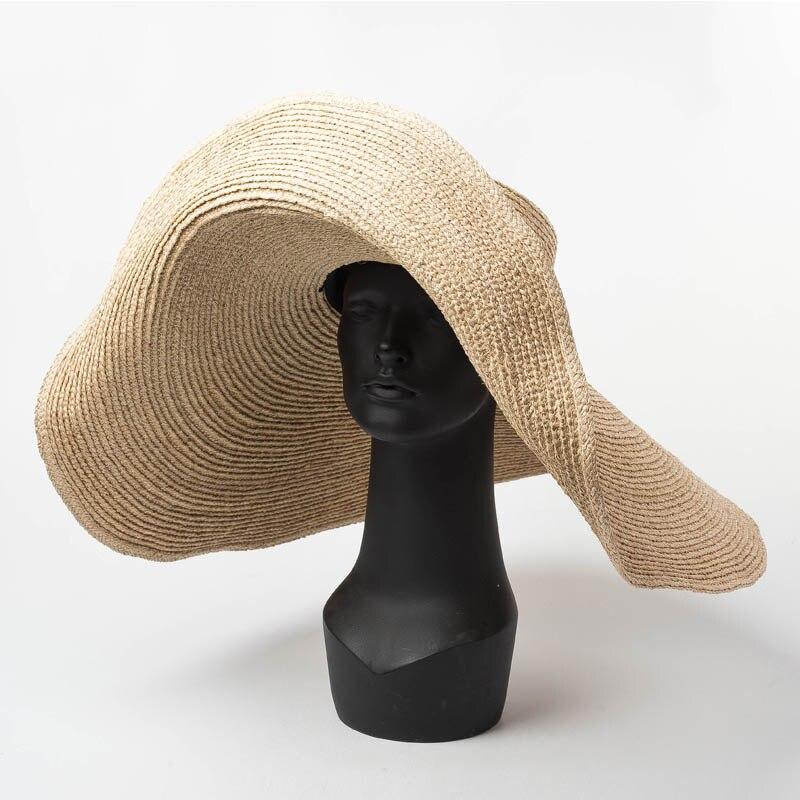 25 centímetros Extra Grande Chapéu de Ráfia Natural elegante Aba Larga Kentucky Derby Hat Mulheres Floppy Summer Beach Chapéu de Palha Grande chapéu de sol chapeau