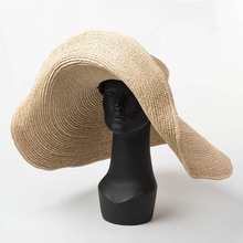 Elegante Natürliche 25cm Extra Große Bast Hut Breite Krempe Kentucky Derby Hut Frauen Floppy Sommer Strand Hut Großen Strohhut sonne Hut chapeau