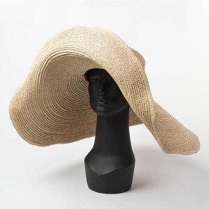 Image 1 - Thanh Lịch Tự Nhiên 25 Cm Lớn Raffia Nón Rộng Vành KENTUCKY Derby Nón Nữ Đĩa Mềm Đi Biển Mùa Hè Nón Lớn Ống Hút hat Chapeau