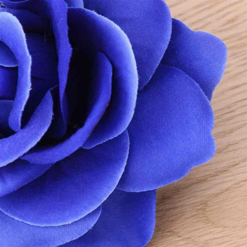 2 in 1 Artificiale Grande Fiore di Rosa Dei Capelli Della Forcella Pinze Spilla Fiore per le Donne Del Partito (Cielo Blu)