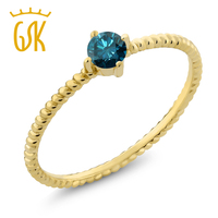 0 15 Ct Round Blue Diamond 10K Yellow Gold Engagement Solitaire Ring