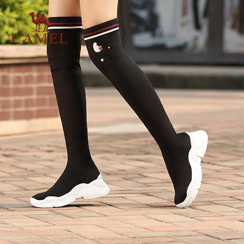 Black Dames forme Sur Genou Bottes Le Chameau Plate Glissement Occasionnels Stretch Tissu De Longues Nouvelle Dessinée Femmes Chaussures Bande Mode Épais Des Haute 2IHD9E