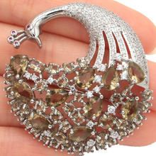 SheCrown New Arrival Peacock 14.1g Smoky Topaz White CZ Ladies Gift Silver Brooch 43x42mm