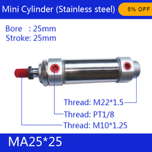 Free shipping Pneumatic Stainless Air Cylinder 25MM Bore 25MM Stroke , MA25X25-S-CA 25*25 Double Action Mini Round Cylinders tn 25 35 two axis double bar cylinder cylinder tn type 25mm bore 35mm stroke double action pneumatic air cylinder