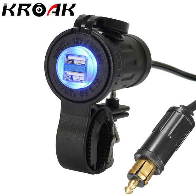 12 24v Motorcycle Bike Dual Usb Charger Adapter For Bmw Truck