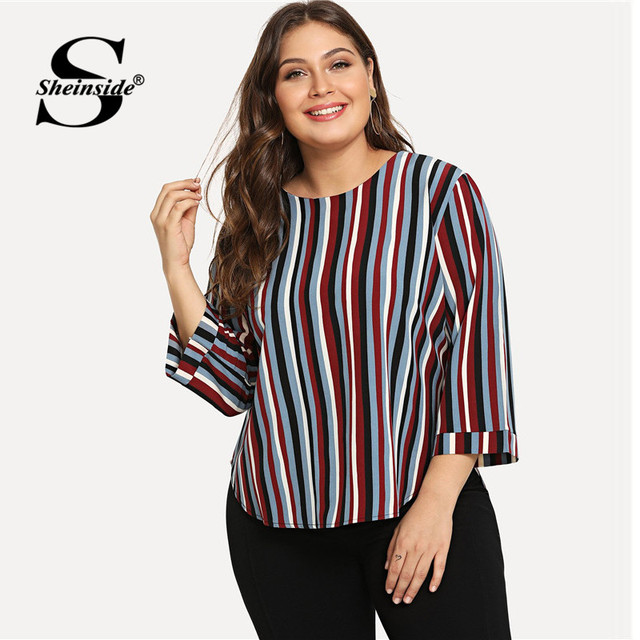 1999d1aefcf Sheinside Striped Plus Size Women Blouse Office Ladies Work Elegant Color  Block Long Sleeve Top 2018