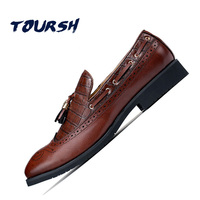 TOURSH Mens Loafers With Tassels Formal Shoes Mens Italian Loafers Dress Loafers Men Luxury Wedding Male
