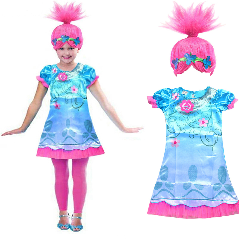 Trolls Wig +dress set New Year Costumes For Girls Halloween Carnival dresses Moana clothes Children Vaiana Party Dress vestidos