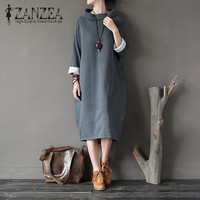 Plus Size 2017 ZANZEA Women Autumn Long Sweatshirt Dress Turtleneck Long Sleeve Pockets Casual Loose Solid