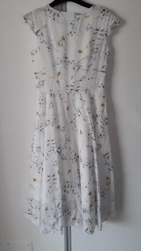Jielur Chiffon Dress Women Summer Short Sleeve Floral Print Boho Dress Slim Vacation Asymmetry White Dresses Elegant Vestidos photo review