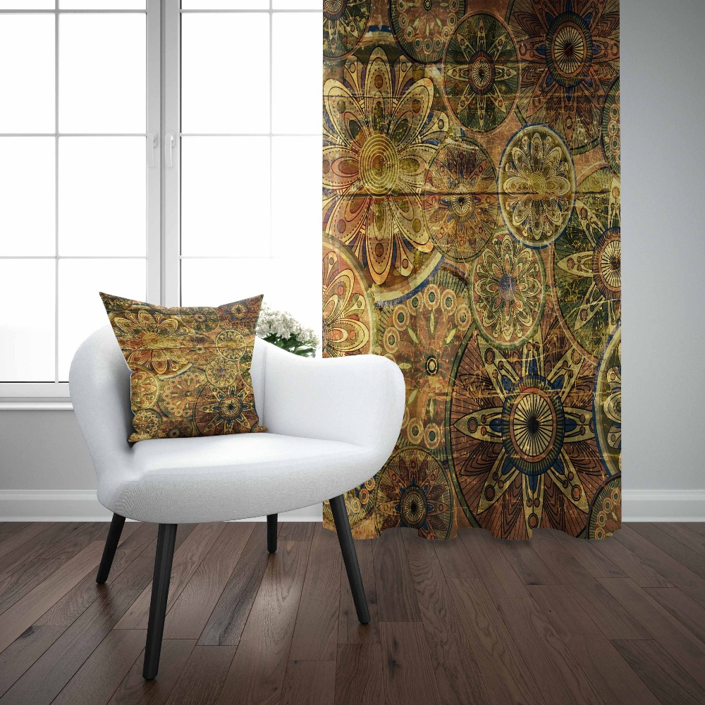 Else Golden Yellow Abstract Authentic Ottoman Retro 3D Print Living Room Bedroom Window Panel Curtain Combine Gift Pillow Case|Curtains| |  - title=