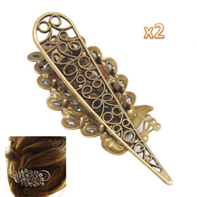 NEW 2 pcs x Lovely VInTage Crystal Peacock Hair Clip-Colorful