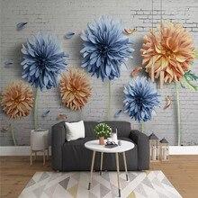 Simple 3d chrysanthemum brick wall nostalgic flower TV background custom large wallpaper mural 3D photo factory wholes