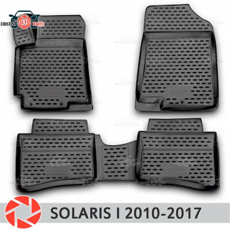 Alfombrillas de suelo para Hyundai Solaris 2010-2017 alfombras antideslizantes de poliuretano protección de suciedad accesorios de diseño de coches interiores