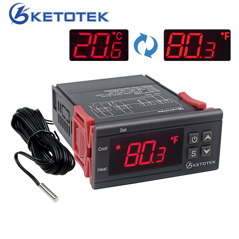 KT1000 12 V 24 V 220 V Digital Termostato Controlador de Temperatura Termorregulador para Incubadora Com Aquecedor E Refrigerador C & F Exibição