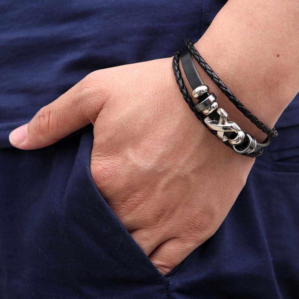 新しいファッション人気ジュエリータイプx合金レザーブレスレット腕輪男性pu織ビーズブレスレットヴィンテージラップパンクブレスレットギフト