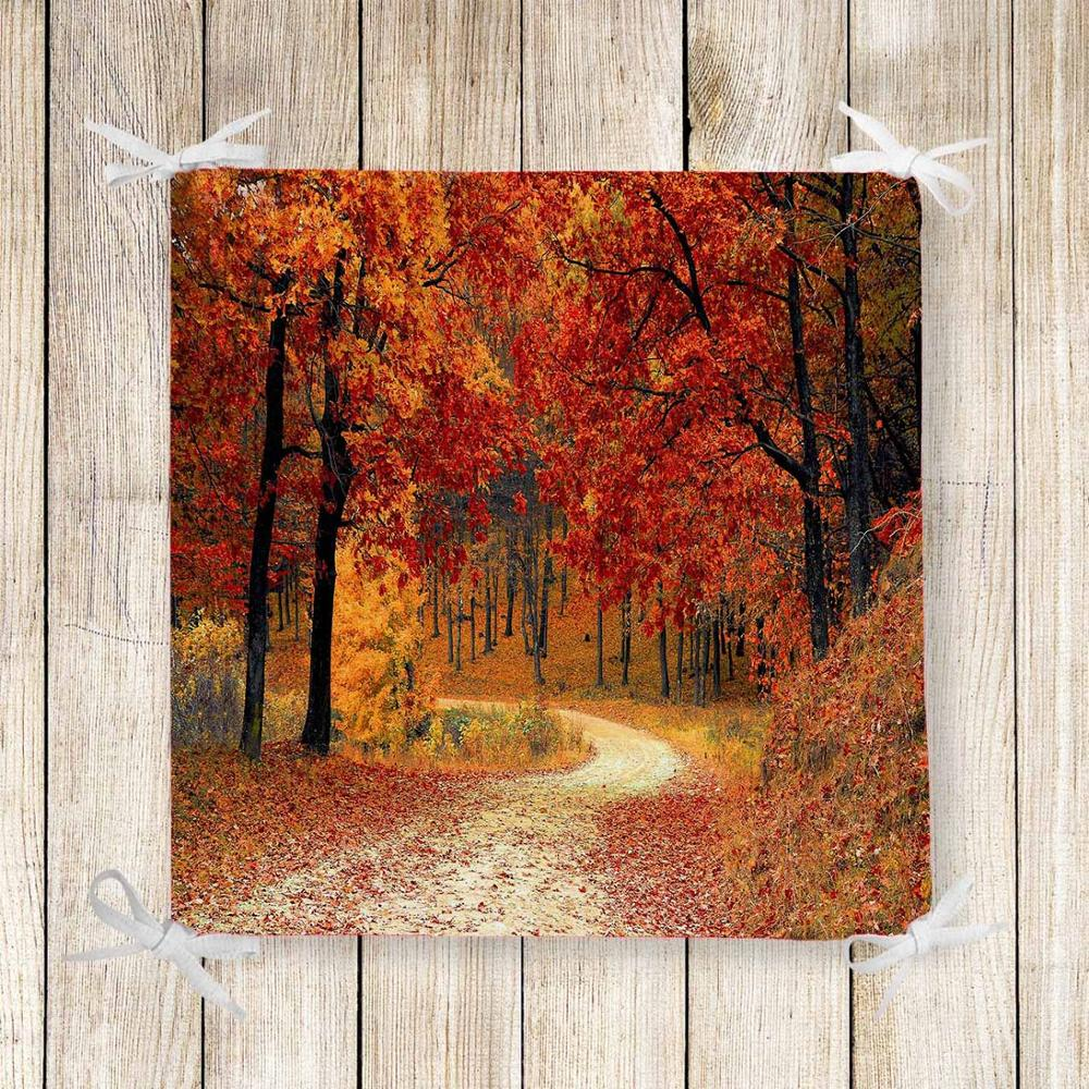Else Autumn Brown Trees Forest Road 3d Print Chair Pad Seat Cushion Soft Memory Foam Full Lenght Ties Non Slip Washable Zipper