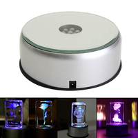 Colorful 7 LED Night Light Unique Rotating 3D Crystal Display Crafts Lamp Base Stand With Adapter