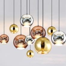 цена на Copper Sliver Mirror E27 Bulb LED Pendant Lights Glass Shade Pendant Lamp Modern Glass Ball Lighting Kitchen Fixture Luminaire