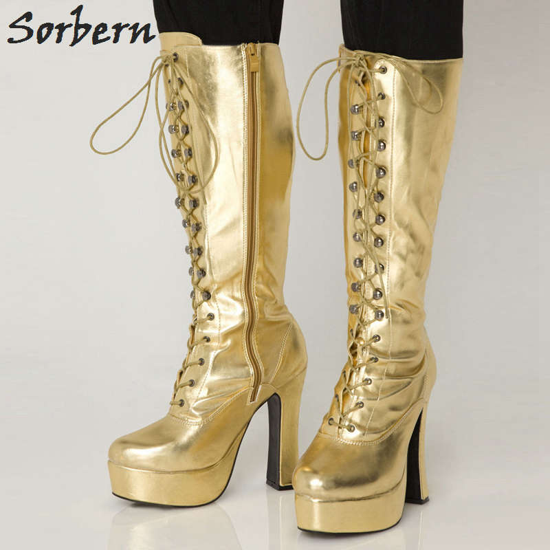 Sorbern Knee Length Boots For Women Botines Mujer 2018 Plus Size Patent Lace Up Custom Color Bottes Femme Fashion Boots цена