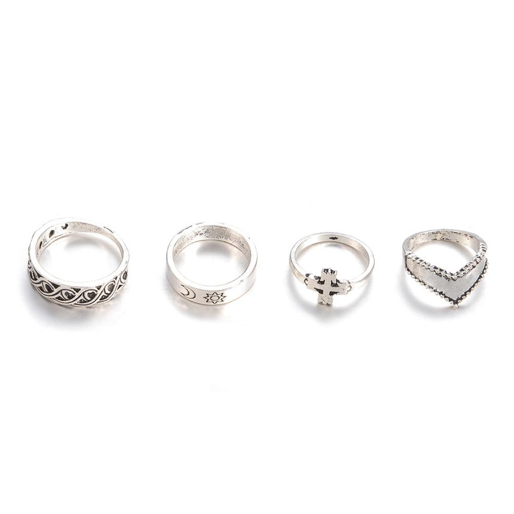 4Pcs Women Fashion Cross Sun Moon Hallow Out Design Finger Ring Set Jewelry