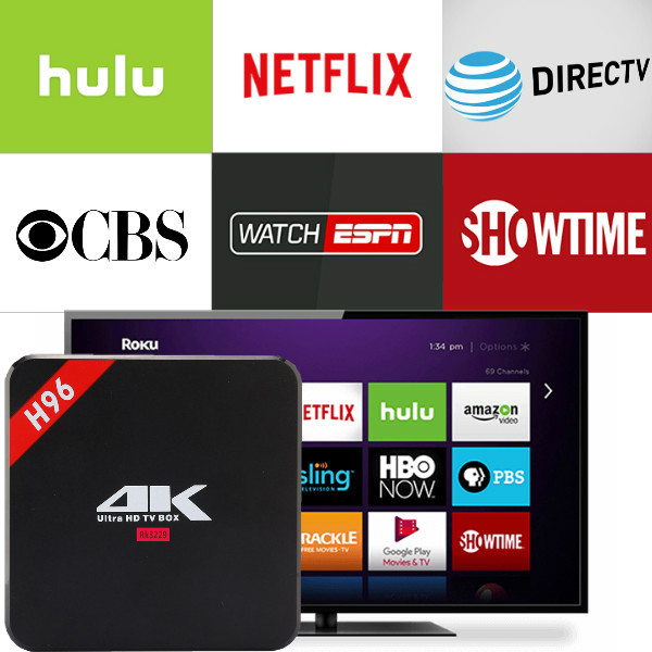 H96 brand With 1 Year Netflix English Tidal account Work on PC Android device Smartv Android TV BOX 2G16G Set top Media player