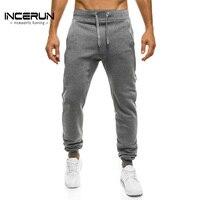 INCERUN Autumn Solid Plain Sweatpants Men Brand Clothing Joggers Workout Sweat Pants Male Long Slacks Casual Harem Trousers 2XL
