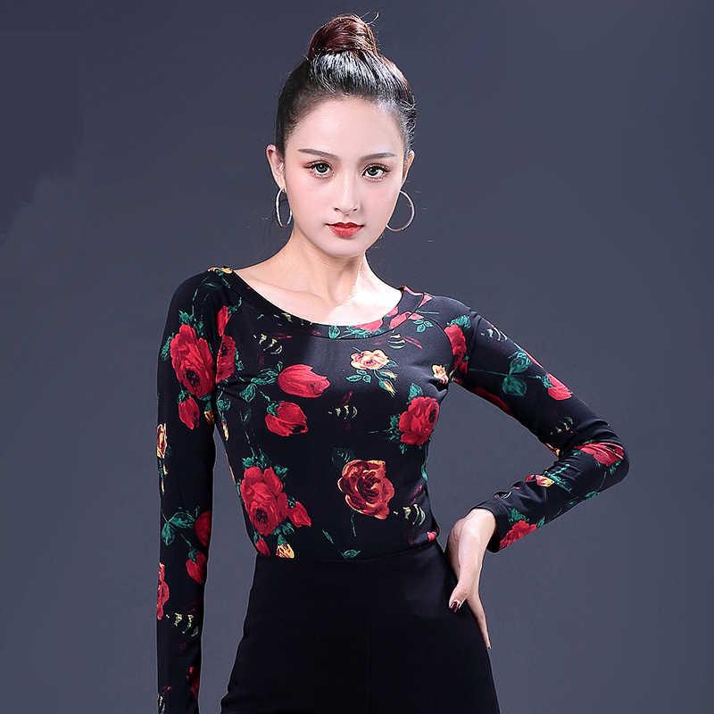 0d9b72e904 Fahion Long sleeve Modern sexy Latin dance clothes top for  women female