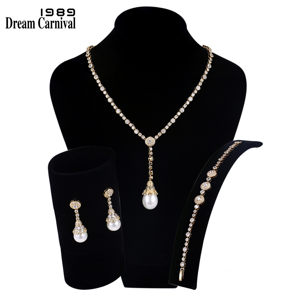 DreamCarnival1989 New Luxury Elegant Imitation Pearls Cubic Zirconia Gold Color Necklace Bridal Jewelry Set For Women SN02436S4G(China)