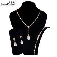 DreamCarnival1989 New Luxury Elegant Imitation Pearls Cubic Zirconia Gold color Necklace Bridal Jewelry Set for Women SN02436S4G