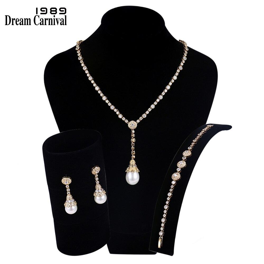 DreamCarnival1989 nouveau luxe élégant Imitation perles cubique zircone couleur or collier ensemble de bijoux de mariée pour les femmes SN02436S4G
