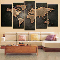 5ps Full Square Diamond Embroidery Black World Map Stickers Home Decoration Diy 3d Diamond Painting Cross