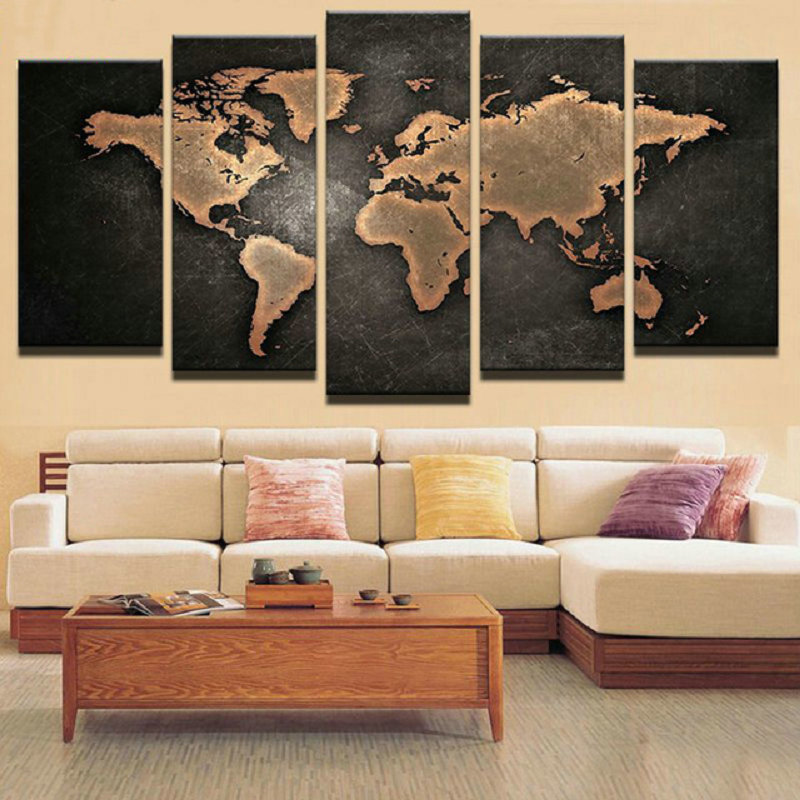 5ps Full square diamond embroidery Black world map