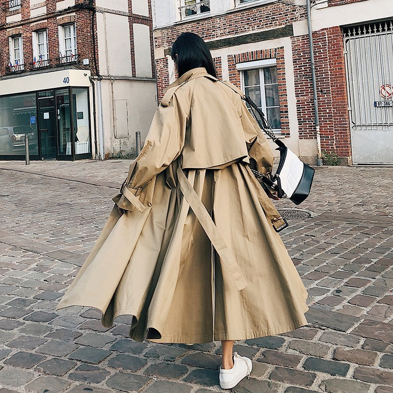 2019 Women   Trench   Coats High Street Loose Outerwear Woman Worker Streetwear Long   Trench   coats Female OL oversize   Trench   FY12