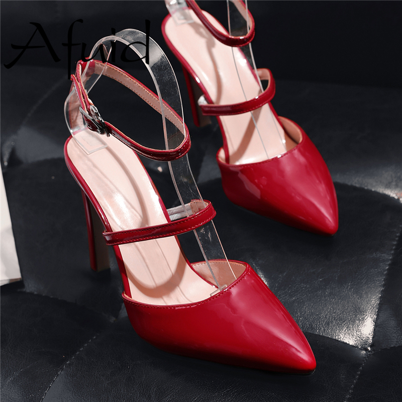AFUID Concise Style Women High Heels Shoes 10cm Steel Heel Elegant Shallow and Thin Heels Ladies Party Pumps With Big Size