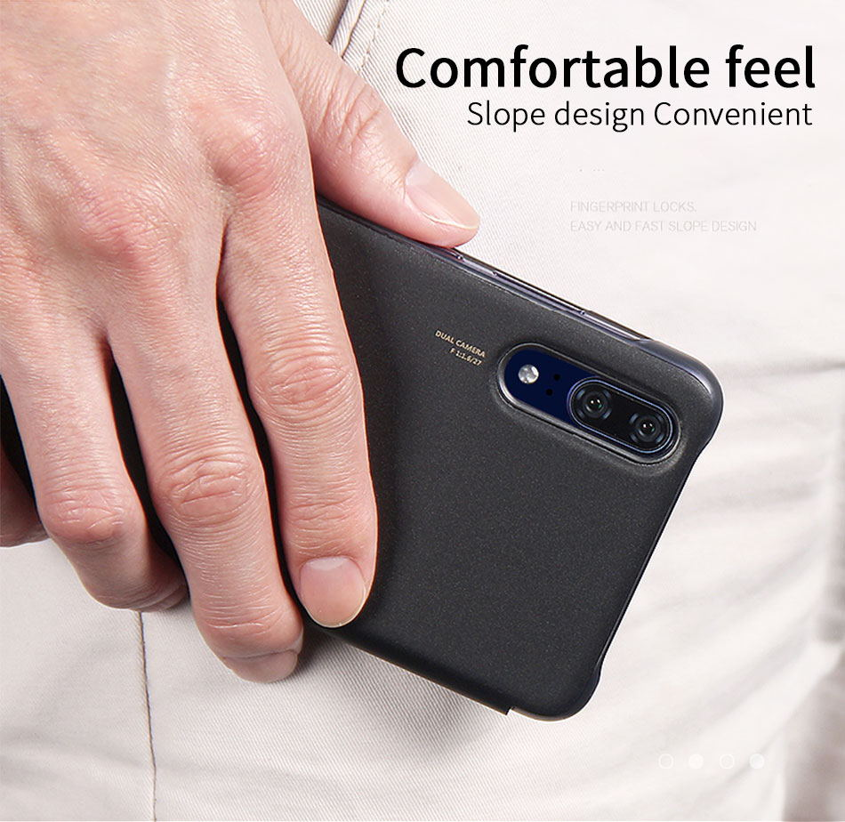 8Huawei P20 Pro Flip Case Original Smart View Huawei P20 Case Plating Mirror Window Wake upSleep Plating PU Leather Protective_