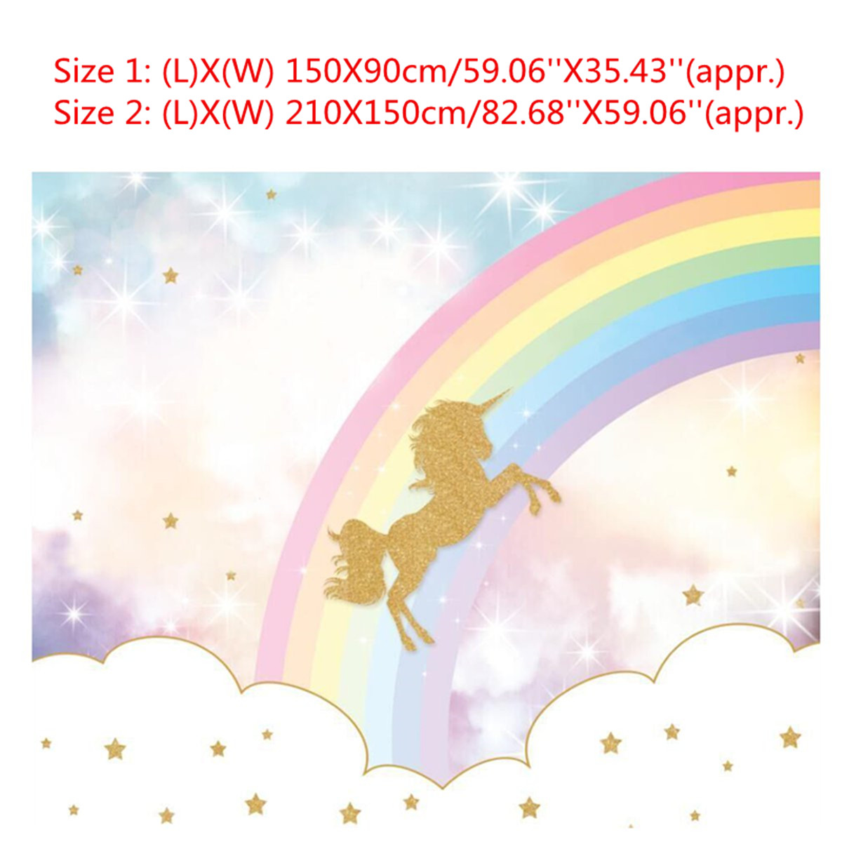 Rainbow Sky Gold Unicorns Photography Backdrops Baby Kids Photo Background  Cloth Vinyl Birthday Party Decoration Favor 2 Sizes In Photobooth Props  From Home ...