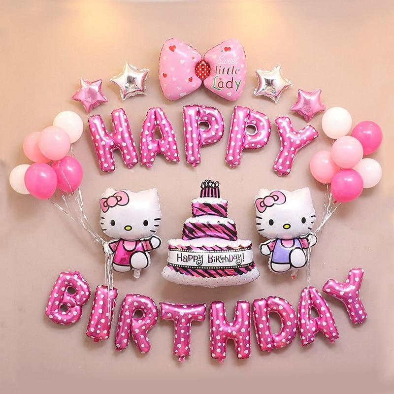 ec8cf4935 Air-Foil-Balloons Party-Decoration-Supplies Happy-Birthday Hello-Kitty Baby  Cartoon Children's