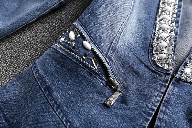 Manteau Vestes À F331 Jeans Manches Longues Dames Qualité Femmes Picture Tops Veste Diamants Pour Color Denim cou Mince Haute 2018 Mode V De zfZwtzxq