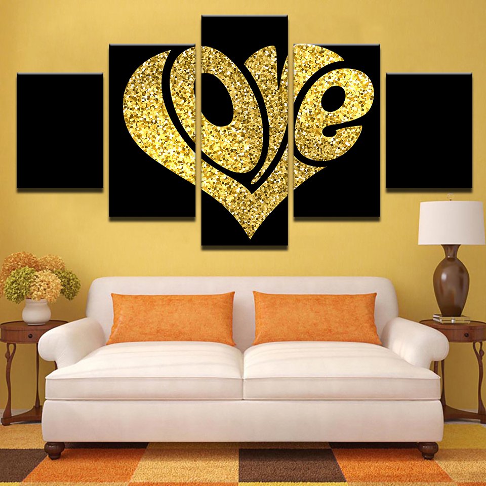 5 Panel Framed HD Printed Love Heart Design Large Poster Canvas Oil ...
