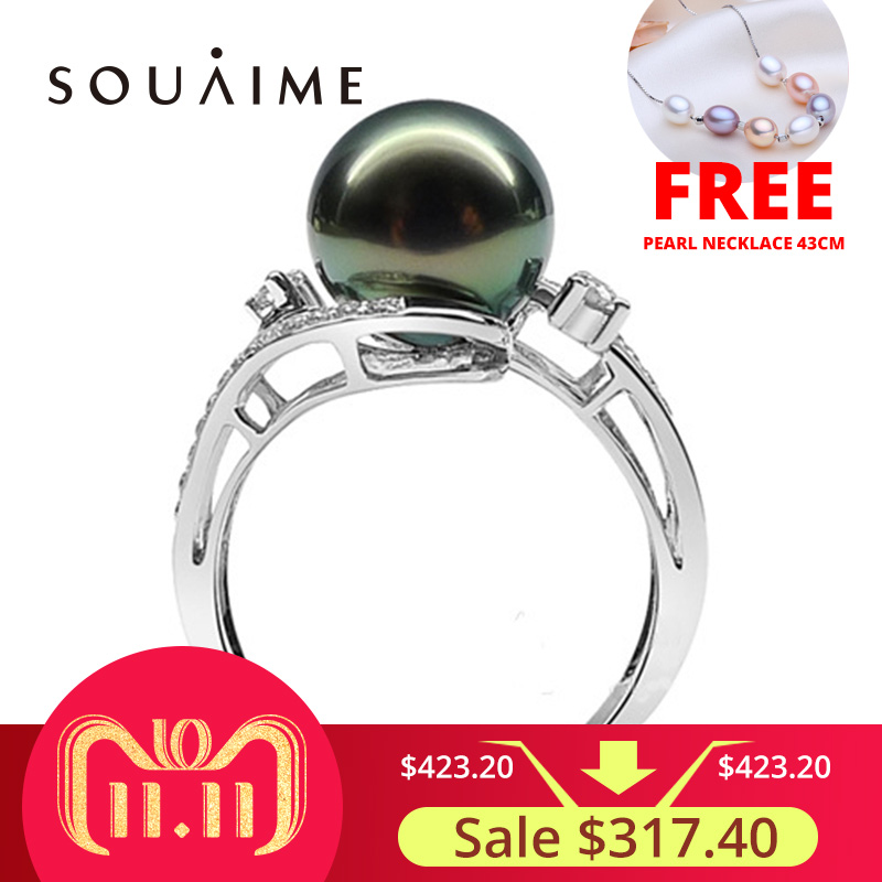 SOUAIME Tahitian Black Pearl 10mm 925 Silver Inlay Ring Pearl Jewelry Wholesale High Quality Production Wedding Jewelry Gift daimi 10 10 5mm black tahitian pearl ring 925 sterling silver ring luxury jewelry