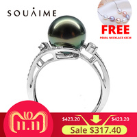 SOUAIME Tahitian Black Pearl 10mm 925 Silver Inlay Ring Pearl Jewelry Wholesale High Quality Production Wedding Jewelry Gift