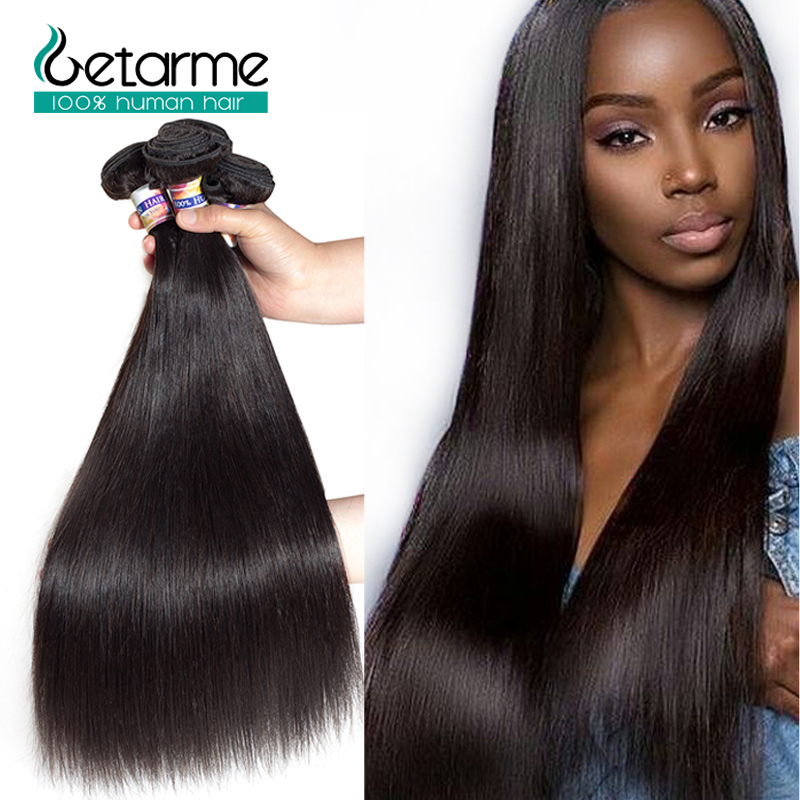 Malaysian Pre Plucked Straight Human Hair 4 Bundles 100% Human Hair Weaves Natural Black Non-Remy hair Getarme Bundle Deals