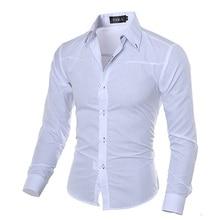 Men Fashion Dark Striped Business Slim Fit Long Sleeve Casual Dress Shirt