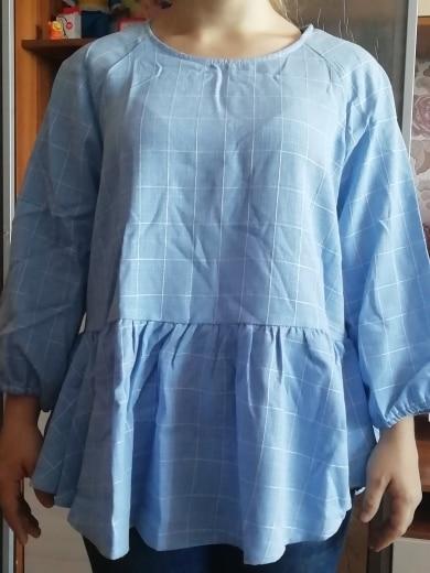 Raglan Sleeve Ruffle Dip Hem Grid Blouse Woman Blouses Autumn Blue Three Quarter Length Sleeve Plaid Blouse photo review